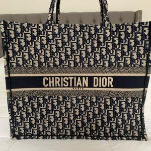 DIOR Christian Dior Oblique Navy Book Tote Bag